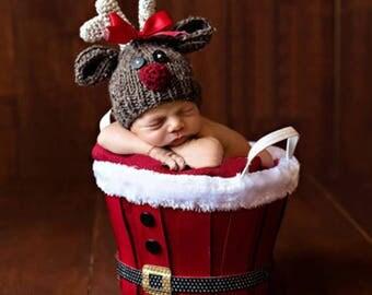 Newborn Photography Prop - Christmas Baby Reindeer Crochet Hat
