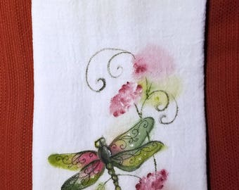 Hand Painted Flour Sack Towel, Dragonfly
