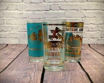Set of 3 Souvenir Glasses - Aqua Blue & Gold - VA - FL - PA