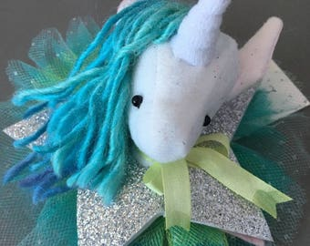 Unicorn Barrette, Magical Glitter Faux Vegan Taxidermy Fascinator, soft sculpture, plush animal hair accessory, brooch, pin teal burlesque