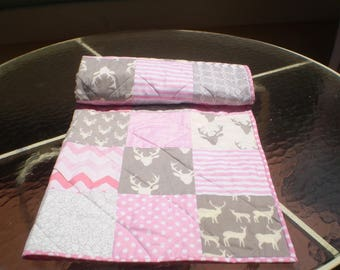 Handmade baby quilt,baby girl quilt bedding, crib quilt, pink, grey, deer baby quilt, woodland, deer, stag, chevron, toddler, Rustic in Pink