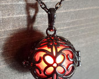 Necklace - Black metal locket with glowing Orb