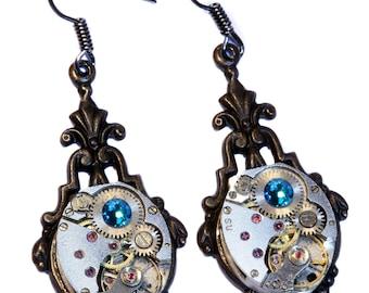 Steampunk Earrings - Blue Zircon Swarovski Crystal