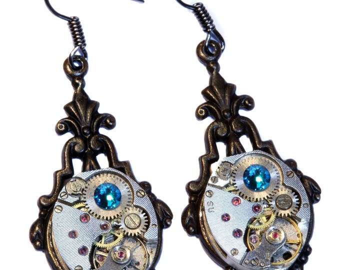 Steampunk Earrings - Blue Zircon Swarovski Crystal