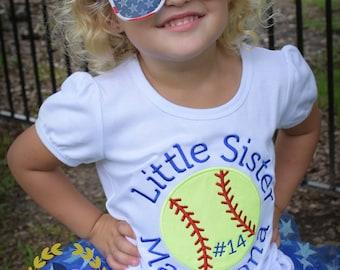 Softball shirts Softball Sister Little Sister - applique shirts Baseball shirt Sports monogrammed t-shirt 12 mo 18 mo 2t 3t 4t 5 6 8