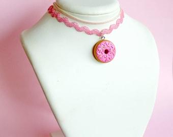 Kawaii Donut Choker, Iridescent Choker Necklace, Pink 90s choker, Mermaid Unicorn, Pastel Goth Jewelry