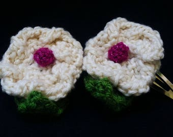 Hand Knit Pair of White/Magenta Dogwood Flower Hair Barrettes/Clips