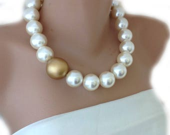 Gold and Beige Faux Pearl Choker, Pearl Necklace,Brides Mother Choker
