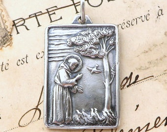 Large Sterling Silver St Francis of Assisi Feeding the Birds Medal - Patron of Animals and the Environment - Antique Replica