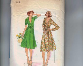 1970s Vintage Sewing Pattern Butterick 4747 Misses Wrap Dress Stretch Knit A Line Size 8 Bust 31 32 70s