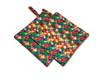 Handmade Quilted Pot Holders Set of 2 Jelly Beans Easter Potholders