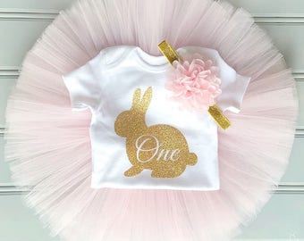 Easter Bunny First Birthday Outfit Girl, Tutu Dress Set, Baby Headband, Baby Romper, 1st Birthday Outfit Girl, Baby Tutu, Tulle Skirt