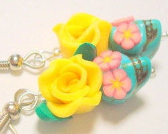 Sugar Skull and Rose Earrings Tiny Turquoise Pink  and Yellow Day of the Dead Earrings