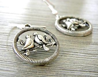 Circle Bird Earrings Silver Color Dangle Earrings