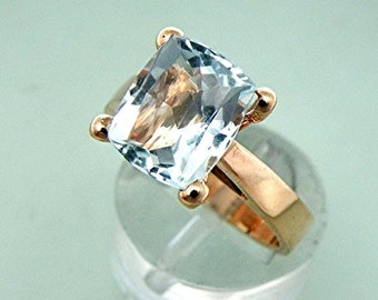 AAA Aquamarine   10x8.5mm  2.85 Carats   set in a 14K Rose gold cathedral style engagement ring.  1914