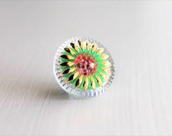 Clear/Green/Gold/Red 18mm Czech Glass Button