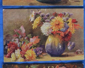 Lot of 3 Tuck Flowers Still Life Art Oil Paintings Oilette Oilfacsim Antique Divided Back Postcards