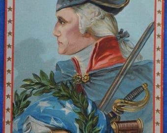 George Washington Profile Treasure Common to All 1912 Antique Patriotic Postcard