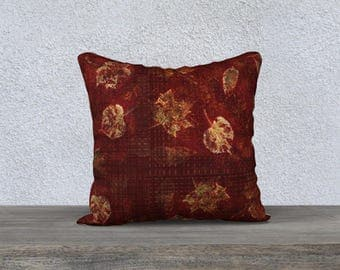 Rustic Fall Leaves Burgundy and Green Soft Velveteen Throw Pillow Cover
