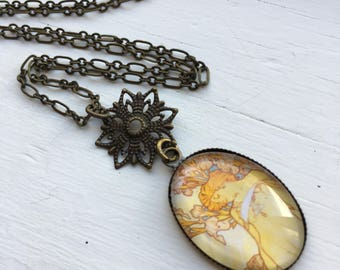 Antique Brass Necklace with French Poster Resin Pendant