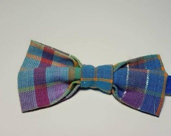 Blue and Pink Plaid Boys' Bow Tie