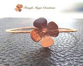 Bright or Antiqued Copper Bangle, Rustic Floral Bracelet, Primitive Hammered Metal Flower, Simple Minimalist Jewelry, Hand Forged Copper
