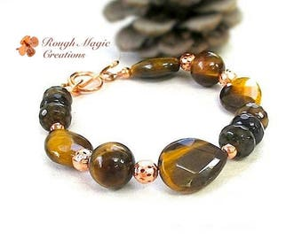 Tiger Eye Copper Bracelet, Brown Gemstone Teardrops, Fall Fashion Jewelry, Autumn Colors, Faceted Agate Stones, Copper Toggle Clasp  B265A
