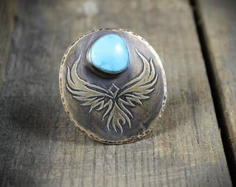 READY TO SHIP - Etched Brass Phoenix with Turquoise and Sterling Silver Shank - Size 7