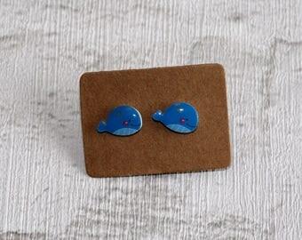 Blue Whale Earrings, Teeny Tiny Earrings, Big Fish Jewelry, Cute Earrings