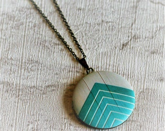 Geometric Locket Necklace, Chevron Necklace, Mint Green Arrows, Geometric Jewelry