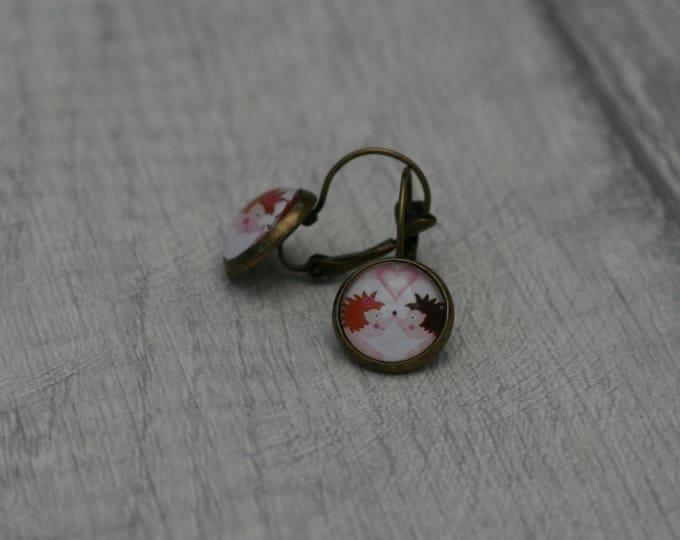Hedgehog Earrings, Hedgehog Illustration, Dangle Earrings, Woodland