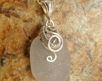 Sea Glass Necklace - Beach Glass Necklace - White Sea Glass Jewelry - Beach Glass Jewellery - Wire Wrapped  -  Wedding