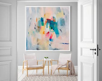 Soft pastel wall art, abstract painting giclee print, large fine art print, modern abstract art, acrylic art print, VictoriAtelier