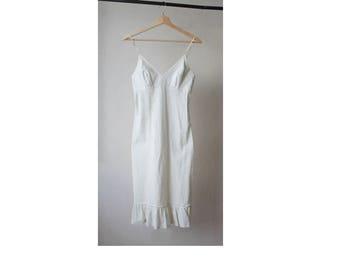 1990s White Cotton Slip Dress