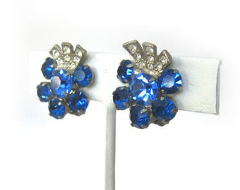 Vintage 50s Sparkling Bright Blue Rhinestone Earrings Glamour Girl Clip On Earrings with Clear Rhinestone in a Sliver Setting