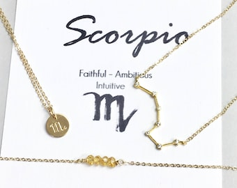Celestial Jewelry, Zodiac Gifts, Scorpio Zodiac, Scorpio Necklace, Zodiac Jewelry, Citrine Birthstone Necklace, November Birthday Gift