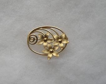 Vintage C.R. Co 12K Gold Filled Flower Pin Brooch
