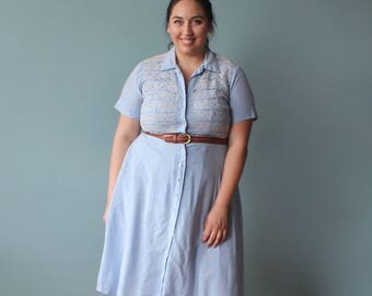vintage plus size dress | 50s powder blue plus size shirt dress | XXL