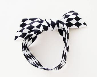 Black & White Harlequin Head Scarf / Multipurpose Hair Accessory, Neck Tie, Handbag or Walker Adornment, Pet Neckerchief / Fun Gift Under 25