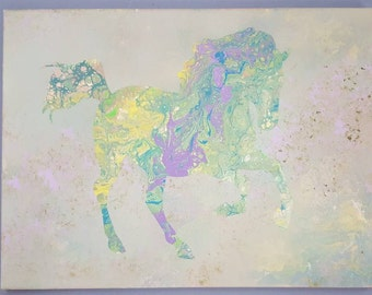 Running abstract horse, horse painting, poured painting horse, equine art, horse artwork, horse artist, gifts for horse lovers, original art