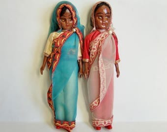Two Vintage Dolls in Indian Dress - 1950s Hard Plastic Dolls in Sari Costumes