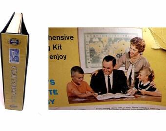 H. E. Harris & Company Statesman Deluxe Stamp Album 1973 Edition Includes Genuine World Postage Stamps Original Display Box