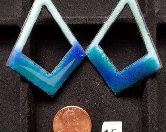 Enameled Earring Components - cutout diamond, blues