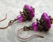 Color Pop Magenta Drops with Magnesite, Czech Glass and Antique Copper