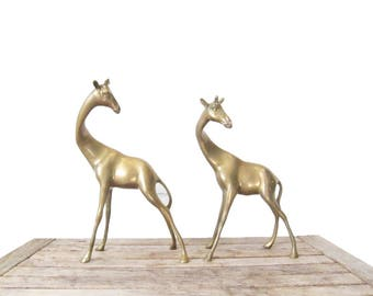 Vintage Brass Giraffe Figurines - Pair of Brass Giraffe Figures - Safari Statues - Solid Brass Animal Figurine Set - Boho Tropical Jungle