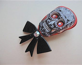 Sugar skull brooch pin Day of the Dead, Halloween in black, white, and orange