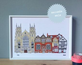 Canterbury Print A4 - SECONDS SALE - Canterbury Cityscape - A4 Print - Architecture Cityscape Art - Canterbury Landmarks