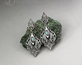 Elven earrings, Sindarin - Narn, silver with labradorites, limited collection