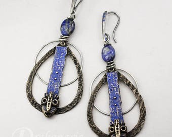 Aes Brundusinum - lapis lazuli, cobalt silver and bronze earrings, tribal masks, ancient writings, ONE OF A KIND