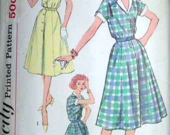 Vintage 60's Simplicity 2847 Sewing Pattern, Misses' Shirtwaist Dress, Size 14, 34 Bust, Simple To Make